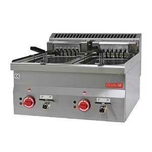 Gastro M Edelstahl-Fritteuse | Stufenlos einstellbarer Thermostat | 2x10 Liter | 600x600x (H) 28cm | 400V | 15kW