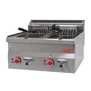 Gastro M Fryer Electric SS | Infinitely adjustable thermostatic | 2x10 Liter | 600x600x (H) 28cm | 400V | 15kW