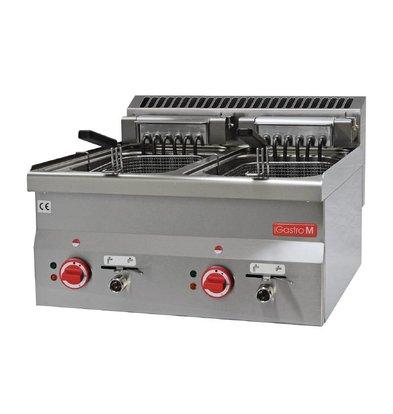 Gastro M Friteuse Elektrisch RVS | Traploos Thermostatisch Instelbaar | 2x10 Liter | 600x600x(H)28cm | 400V | 15kW