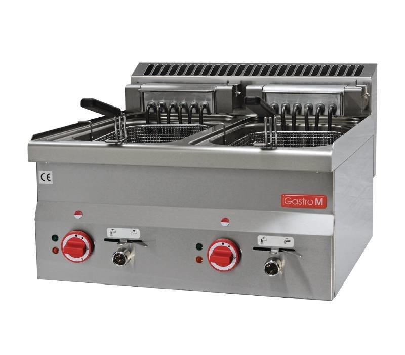 Gastro M Fryer Elektro-SS | Stufenlos einstellbare Thermostat | 2x10 Liter | 600x600x (H) 28cm | 400V | 15kW