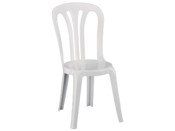 XXLselect Stacking Chair Strong White Plastic - Price per 6 Pieces