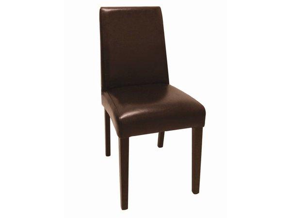XXLselect Kunstlederen stoel met Rug - Donkerbruin - Prijs per 2 stuks - 405x500x(h)940mm