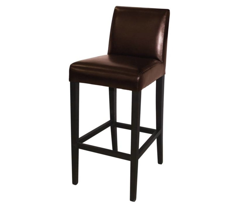XXLselect Art Leather Bar stool with backrest - Dark Brown with Wood Frame - Seat height 760mm - Price per 1 piece