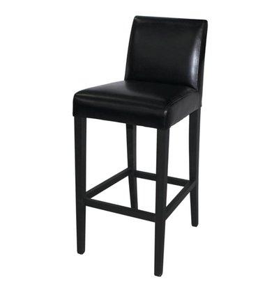 XXLselect Kunst Leder Barhocker - Schwarz mit Holzrahmen - Sitzhöhe 760 mm - Preis pro 1 Stück
