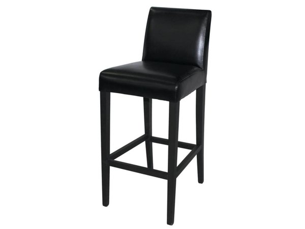 XXLselect Art Leather Bar stool with backrest - Black with Wood Frame - Seat height 760mm - Price per 1 piece