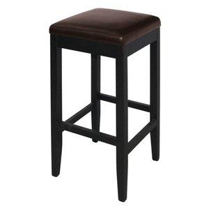 XXLselect Kunstleder Barhocker ohne Rückenlehne - Dunkelbraun mit Holzrahmen - Sitzhöhe 760 mm - Preis für 2 Stück