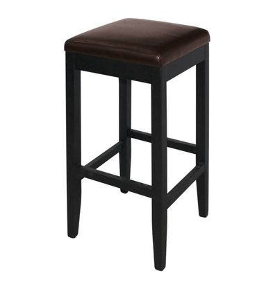 XXLselect Artificial leather Barstool without backrest - Dark Brown with Wood Frame - Seat height 760mm - Price per 2 pieces