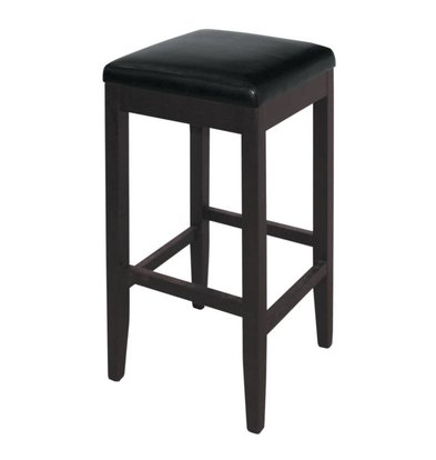 XXLselect Artificial leather Barstool without backrest - Black with Wood Frame - Seat height 760mm - Price per 2 pieces