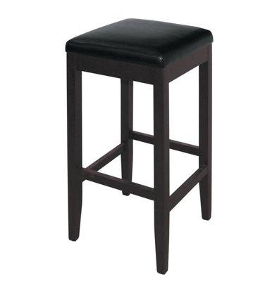XXLselect Kunstleder Barhocker ohne Rückenlehne - Schwarz mit Holzrahmen - Sitzhöhe 760 mm - Preis für 2 Stück