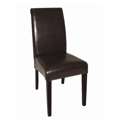 Bolero Imitation leather chair with round back - Dark - Price per 2 pieces - 410x510x (h) 1015mm