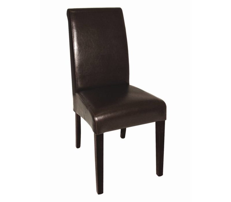 XXLselect Imitation leather chair with round back - Dark - Price per 2 pieces - 410x510x (h) 1015mm