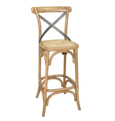 XXLselect Wooden barstool with crossed back - Natural