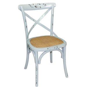 XXLselect Houten stoel met gekruiste rugleuning - Antiek Blue Wash - Prijs per 2 Stuks
