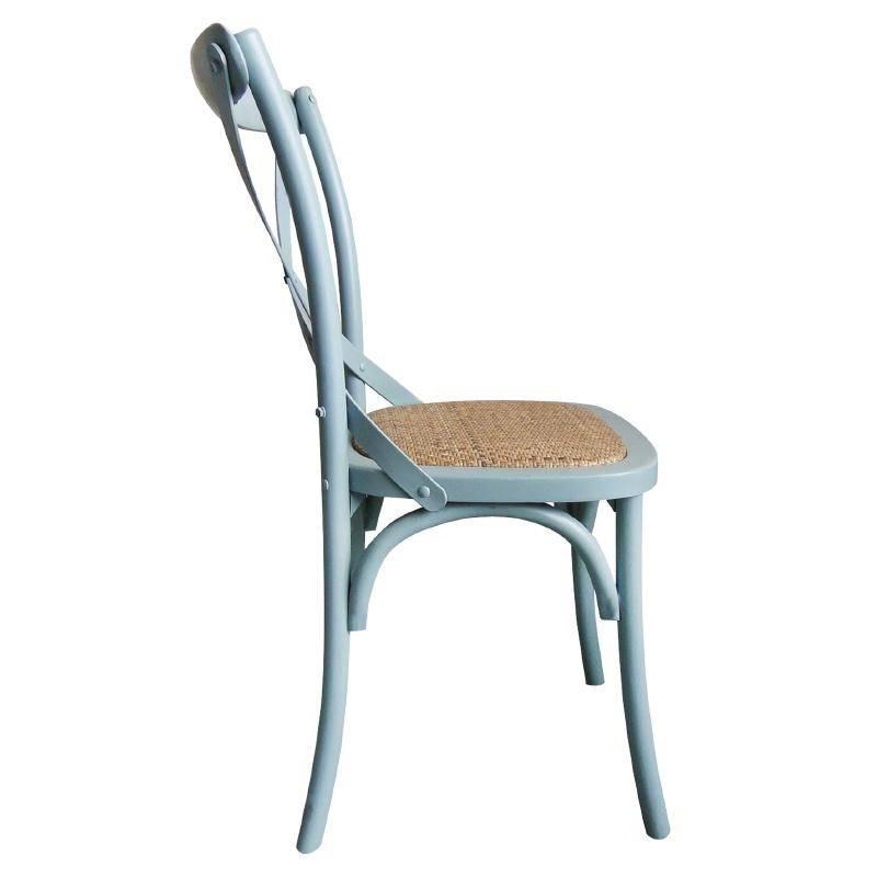 XXLselect Houten stoel met gekruiste rugleuning - Antiek Blue Wash ...