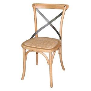 XXLselect Houten stoel met gekruiste rugleuning - Natural - Prijs per 2 Stuks