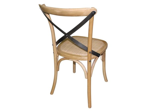 XXLselect Holzstuhl mit gekreuzten zurück - Natural - Preis pro 2 Stück