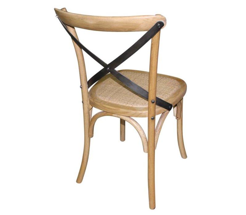 Xxlselect houten stoel met gekruiste rugleuning natural prijs per 2 stuks - X houten ...
