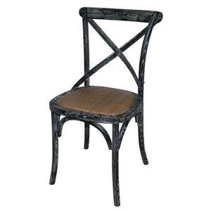 XXLselect Houten stoel met gekruiste rugleuning - Black Wash - Prijs per 2 Stuks
