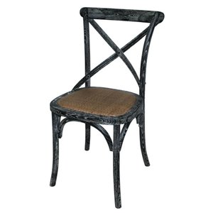 XXLselect Wooden chair with crossed back - Black Wash - Price per 2 pieces