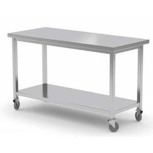 XXLselect Stainless steel workbench on wheels + Bottom Shelf | HEAVY DUTY | 1000 (b) x600 (d) mm | CHOICE OF 7 WIDTHS