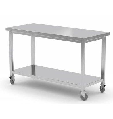 XXLselect Edelstahl-Werkbank auf Rädern + Bottom Shelf | HEAVY DUTY | 1000 (b) x600 (d) mm | Auswahl von 7 WIDTHS