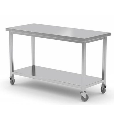 XXLselect Stainless steel workbench on wheels + Bottom Shelf | HEAVY DUTY | 1000 (b) x600 (d) mm | CHOICE OF 7 WIDTHS