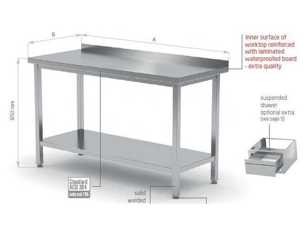 XXLselect RVS Werktafel + Bodemschap + Spatrand | HEAVY DUTY | 400(b)x700(d)mm | KEUZE UIT 16 BREEDTES