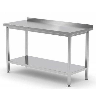 XXLselect Edelstahl-Werkbank + Bottom Shelf + Splash-Rand | HEAVY DUTY | 400 (b) x700 (d) mm | Auswahl von 16 WIDTHS