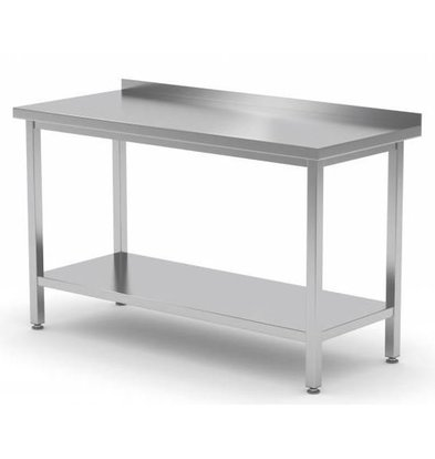 XXLselect Stainless steel workbench + Bottom Shelf + Splash-Rand | HEAVY DUTY | 400 (b) x700 (d) mm | CHOICE OF 16 WIDTHS