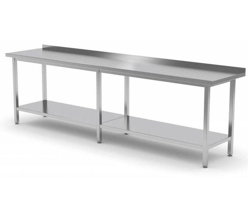 XXLselect Stainless steel workbench + Bottom Shelf + Splash-Rand | HEAVY DUTY | 400 (b) x600 (d) mm | CHOICE OF 16 WIDTHS