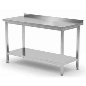 XXLselect Stainless steel workbench + Bottom Shelf + Splash-Rand | HEAVY DUTY | 400 (b) x600 (d) mm | CHOICE OF 16 WIDTHS