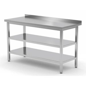 XXLselect Edelstahl-Arbeitstisch + Bottom Shelf + s + Regalrand | 400 (b) x600 (d) mm | Auswahl von 16 WIDTHS