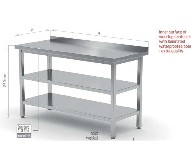 XXLselect Stainless steel worktable + Bottom Shelf + s + Shelf Edge | 400 (b) x600 (d) mm | CHOICE OF 16 WIDTHS