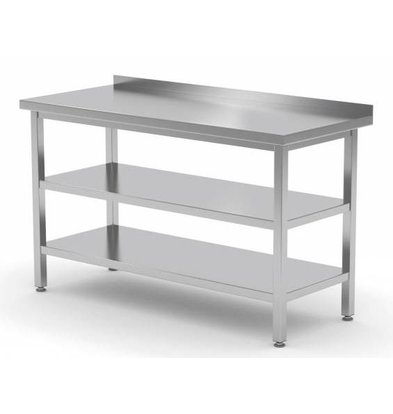 XXLselect Edelstahl-Arbeitstisch + Bottom Shelf + s + Regalrand | 400 (b) x700 (d) mm | Auswahl von 16 WIDTHS