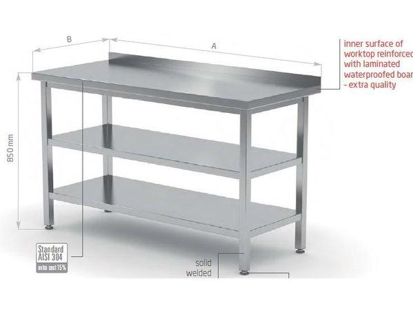 XXLselect Werktafel RVS + Bodemschap + Tussenschap + Rand   2000(b)x600(d)mm   KEUZE UIT 9 BREEDTES
