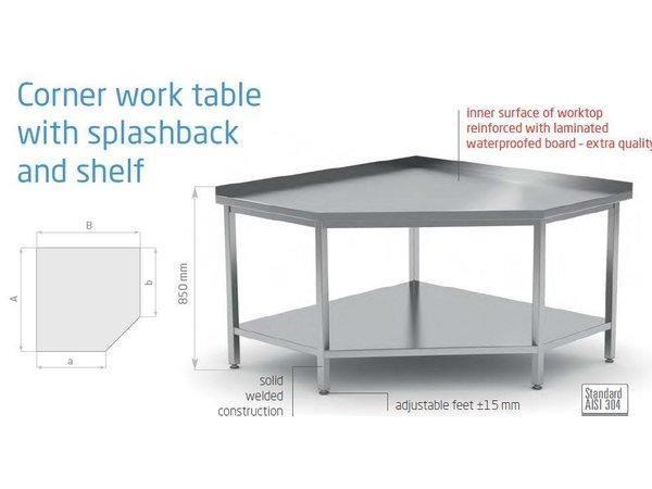 XXLselect Edelstahl-Werkbank Angle + Boden + Wasser Sheep Ridge | (b) 700-1000mm | 600-700mm (d)