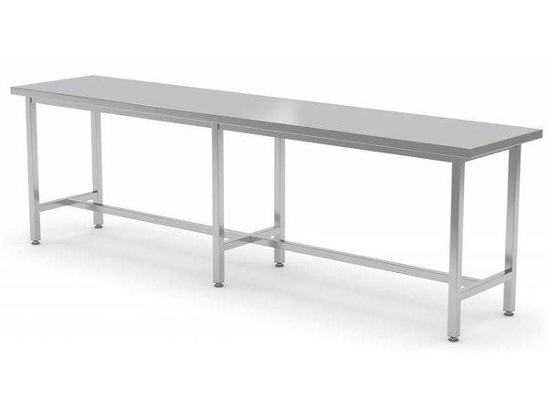XXLselect Stainless steel workbench without shelf + Skid   HEAVY DUTY   800 (b) x700 (d) mm   CHOICE OF 12 WIDTHS