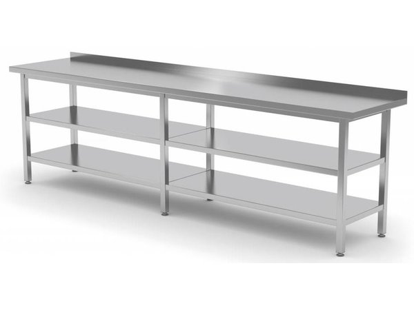 XXLselect Stainless steel workbench + 2x Bottom Shelf | Central Table | HEAVY DUTY | 2000 (b) x600 (d) mm | CHOICE OF 9 WIDTHS
