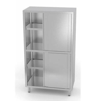 XXLselect Crockery Cupboard SS + 4 + 3 Sliding Shelves   HEAVY DUTY   800x500x1800 (h) mm   CHOICE OF 5 WIDTHS