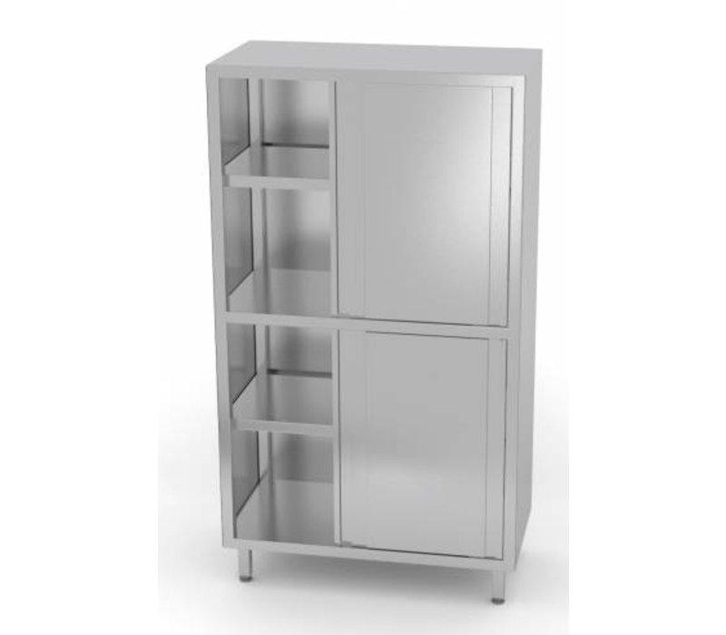 XXLselect Crockery Cupboard SS + 4 + 3 Sliding Shelves | HEAVY DUTY | 800x500x1800 (h) mm | CHOICE OF 5 WIDTHS