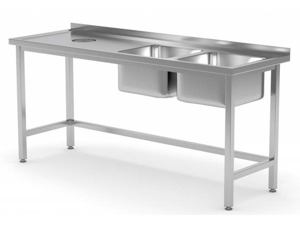 XXLselect Sink Sinks + 2 (right) 400x400x250 (h) + Hole + 1500 (b) x600 (d) mm | CHOICE OF 5 WIDTHS