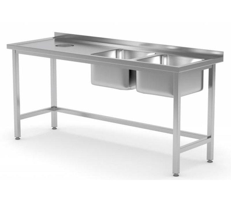 XXLselect Sink Spülen + 2 (rechts) 400x400x250 (h) + Loch + 1500 (b) x600 (d) mm | Auswahl von 5 WIDTHS