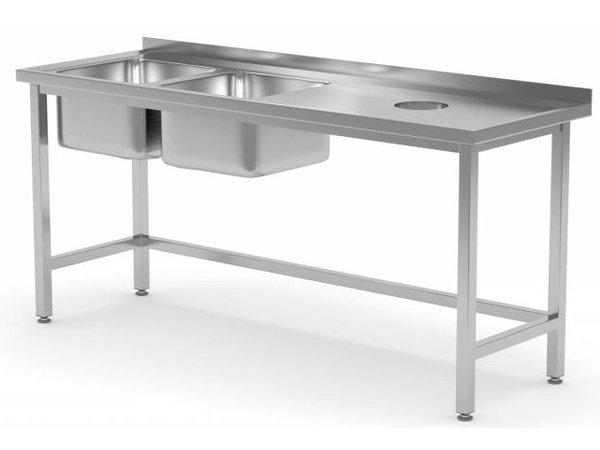 XXLselect Sink + 2 Waschbecken XXL (links) 500x400x250 (h) + Loch + 1500 (b) x700 (d) mm | Auswahl von 5 WIDTHS