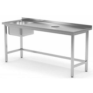 XXLselect Sink Sink + (links) 400x400x250 (h) + Lochverarbeitung / Abfall + 800 (b) x600 (d) mm   AUSWAHL 12 WIDTHS