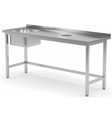 XXLselect Sink Sink + (links) 400x400x250 (h) + Lochverarbeitung / Abfall + 800 (b) x600 (d) mm | AUSWAHL 12 WIDTHS