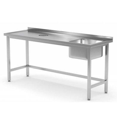 XXLselect Sink Sink + (rechts) 500x400x250 (h) + Lochverarbeitung / Abfall + 800 (b) x700 (d) mm | AUSWAHL 12 WIDTHS