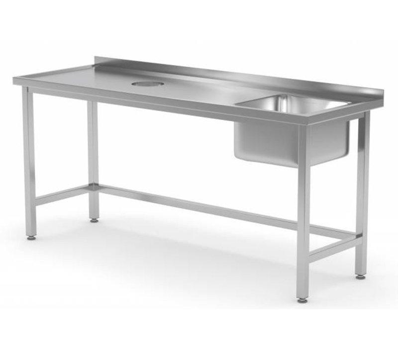XXLselect Sink Sink + (rechts) 400x400x250 (h) + Lochverarbeitung / Abfall + 800 (b) x600 (d) mm | AUSWAHL 12 WIDTHS