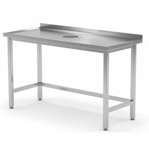 XXLselect Workbench Stainless Steel + Round Hole for handling / Waste + 800 (b) x600 (d) mm | CHOICE OF 12 WIDTHS