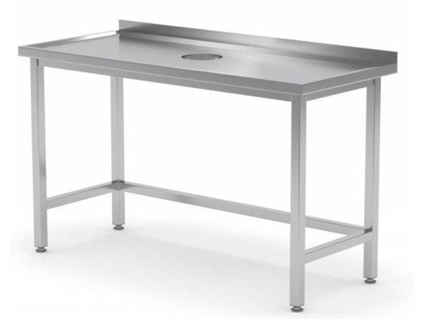 XXLselect Werktafel Roestvrij Staal + Rond Gat voor Verwerking / Afval + 800(b)x600(d)mm | KEUZE UIT 12 BREEDTES