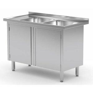 XXLselect Sink Stainless Steel Sinks + 2 + 2 Swing doors   1100 (b) x600 (d) mm   CHOICE OF 5 WIDTHS